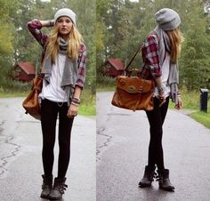 Love the combo: white tee, checked shirt, scarf, beanie and leggings with short boots