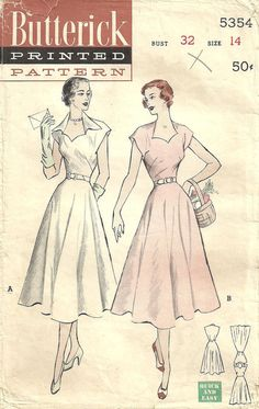 Butterick 5354 Vintage 50s Sewing Pattern Dress Size 14