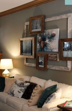 Layers of frames over a large empty frame, elegantly rustic.