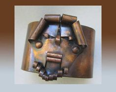 PUJOL Style-Interesting Cut and Coiled Applied Copper Viking Mask Design Cuff,VIntage Jewelry Men/Unisex