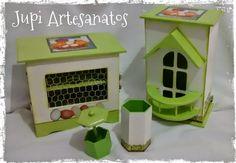 Jupi Artes: KIt Cozinha: Porta Ovos + Puxa Sacos + Paliteiro