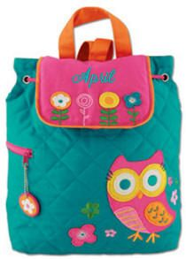 Whoo Hoo! Owls are everywhere! A symbol of wisdom, this Stephen Joseph quilted backpack will be a wise choice for a back to school bag. The fabric shoulder straps are fabric and have adjustable positions. Stephen Joseph quality abounds in this creatively decorated quilted backpack. If she wants a quilted backpack to carry her stuff to school, this Stephen Joseph Owl Backpack is the best choice!  PRICE: $23.00	 Personalize for $7 up to 12 letters, .60 additional letters