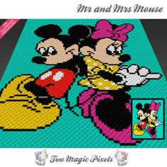 Mr and Mrs Mouse crochet blanket pattern; c2c, knitting, cross stitch graph; pdf download; no written counts or row-by-row instructions by TwoMagicPixels, $3.79 USD