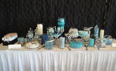 black white turquoise and blue wedding candy buffet