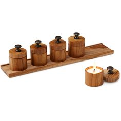 S.S. Sarna Inc. Mini Teak Candles & Tray ($38) ❤ liked on Polyvore featuring home, home decor, candles & candleholders, mini candles and miniature candles
