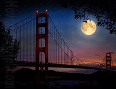 Golden Gate Bridge at Night - Full Moon - San Francisco Beautiful Moon, Beautiful Places, Beautiful Gifts, Beautiful Scenery, Amazing Places, Wonderful Places, Puente Golden Gate, Espanto, Shoot The Moon