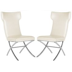 Safavieh Couture Cameron White Leather Side Chairs - Set Of 2 (MCR3215B-SET2)