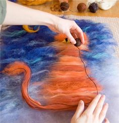 "Wet felting tutorial for creating a felt ""painting""..Long process IMHO, In total, the product must be subjected to friction 40-50 minutes."