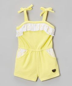 Love this Yellow & White Ruffle Terry Tie Romper - Infant, Toddler & Girls on #zulily! #zulilyfinds
