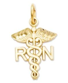 """Nurse Charm Bling-Bling: Crafted in 14k yellow gold, this charm features a polished design with the letters """"RN"""". Makes a great gift for a new nursing grad! 4/5 inch long by 1/2 inch wide. From Macys."""