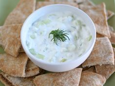 Tzatziki.  2 cups plain Greek yogurt, 1 cup diced seedless cucumber,  2 tablespoons fresh lemon juice,  2 garlic cloves, minced,  2 tablespoons finely chopped fresh dill,  Salt and pepper, to taste.   In a medium bowl, combine Greek yogurt, cucumber, lemon juice, garlic, and dill. Stir until well combined. Taste and season with salt and pepper. If you have time, chill before serving.