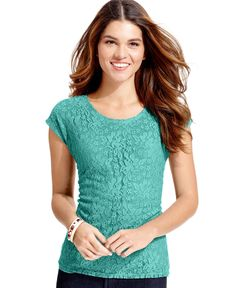 Ny Collection Petite Cap-Sleeve Lace Top
