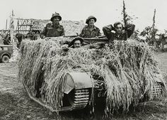 War and Conflict, World War Two, (D-Day), Invasion of France, pic: 1944, British troops holding a German prisoner in their camouflaged armoured vehicle during the fighting for Caen - pin by Paolo Marzioli