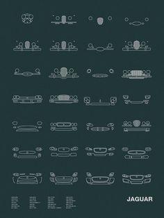Models shown: 1936 SS100 / 1948 XK120 / 1951 C-TYPE / 1954 D-TYPE / 1954 XK140 / 1957 XK150 / 1957 XKSS / 1959 MARK 2 / 1961 E-TYPE 1963 S-TYPE / 1966 XJ13 / 1968 XJ6 SERIES 1 / 1976 XJS / 1979 XJ6 SE