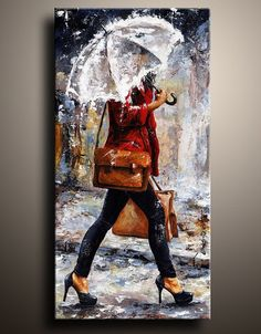 Canvas Art PRINT of My Figure Acrylic Painting Rainy Day Woman of New York 17 on Etsy, $65.00