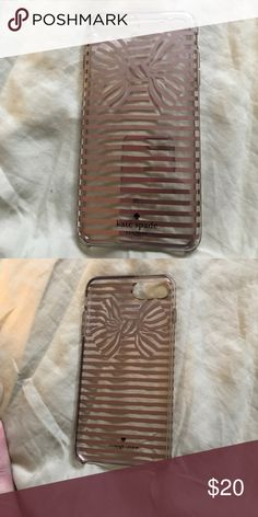 Kate Spade iPhone 7 Plus phone case iPhone 7 Plus case clear with pink bow outline. Gently used. kate spade Other
