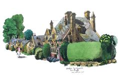My #watercolour painting of #Stanton High Street in the #Cotswolds. I only saw a horse the whole day!