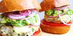 Spicy Chicken Burgers With Guacamole, Cheddar, And Pickled Onions.  Heat up the start of your weekend with jalapeño-spiked chicken patties.