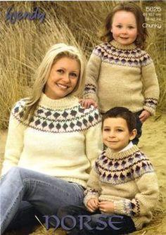 Ladies & Childrens Fairisle Yoke Sweaters in Wendy Norse Chunky