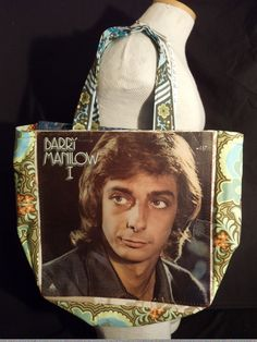 "Do you remember Barry this young?  Here is his ""I"" original LP album cover reDesigned into a reTroToTe!  99% reCycled-reUsed-rePurposed... 100% reDesigned & reTro!  All hand designed and hand sewn.  $50.00 each."