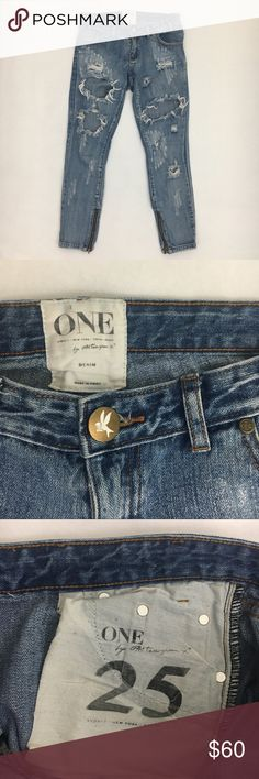 """🎉SALE🎉OT Trashed Freebirds Some of the cutest jeans EVER!!! As seen on so many celebrities :) Size 25 in a medium wash. I believe these are the Cobain wash, but I don't remember for certain. They are the prettiest blue though! Some signs of wear - see rips in pics - but in overall great condition! Inseam: 25""""  Rise: 7""""  Waist: 15 One Teaspoon Jeans Ankle & Cropped"""