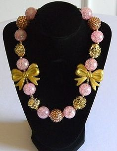 Girls Pink & Gold Boutique Necklace Chunky Bubble Jewelry Gift Pageant Birthday