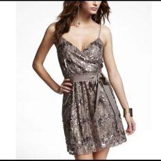 Express Dark Gold Surplice-Top Cocktail Dress