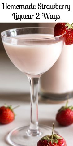 Strawberry Liqueur made with fresh Strawberries and vodka, make it with a simple syrup or a creamy mixture. Take your pick both are the best ways to bring in or take out the Strawberry Season this year! #strawberryliqueur #strawberries #drink #summerdrink #liqueur #Italianrecipe