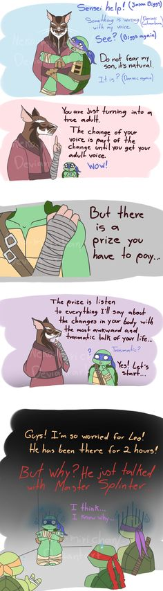 Leonardo and his voice are hitting puberty by Neko-mirichan.deviantart.com on @deviantART <--- Splinter! STAPH!