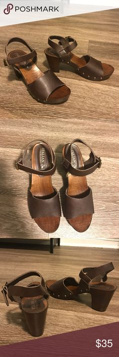 Italian Shoemakers leather & wood sandal clogs Dark brown leather with dark brown wood clog soles. Brass details. Size 8. Only worn one time, like new! italian shoemakers Shoes Heels