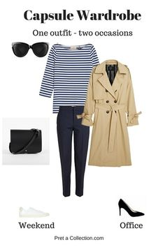 Capsule wardrobe saves you plenty of time and you always look fabulous #minimalist#capsulewardrobe#simple#simplicity#minimal#stripes#trenchcoat#fashion#outfit#ShopStyle #shopthelook #SummerStyle #WearToWork #WeekendLook #TravelOutfit #OOTD