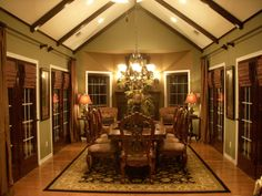 Southern Elegance, Our large dining room where we can entertain our family and friends. In the fall and winter we enjoy the ambience from the glow and warmth the fireplace provides. , Our dream dining room large enough to entertain family and friends. , Dining Rooms Design