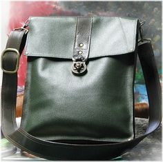 Leather Steampunk Messenger Bag for Men and Women - Green and Brown. $300.00, via Etsy.