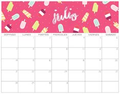 Calendario 2019 GRATIS | Imprimibles July Calendar, Calendar Notes, Excel Calendar, Printable Calendar Template, Calendar Design, Printables, Diy, Lettering, How To Plan