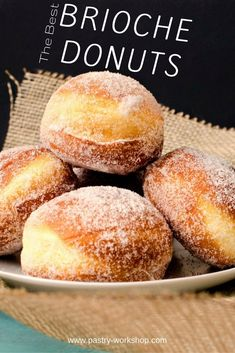 Brioche Donuts - Gogosi pufoase - - These brioche donuts are everything you ever wanted from a donut: golden brown and crusty on the outside, yet so fluffy and flavorful on the inside! Köstliche Desserts, Delicious Desserts, Dessert Recipes, Yummy Food, Brioche Donuts, Brioche Bread, Doughnuts, Donut Recipes, Cooking Recipes