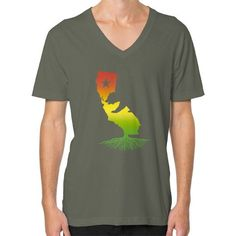 California Roots (Rasta surfer colors) V-Neck (on man)