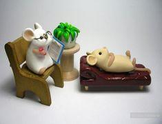 Поделки из пластики - оригинальные фигурки. Серия мышки