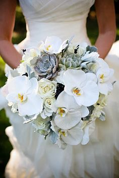 I love a twist on the white bridal bouquet which involves texture and exotic blooms such as orchids! White Orchid Bouquet, Orchid Bridal Bouquets, White Orchids, Bride Bouquets, Flower Bouquets, Exotic Flowers, Pretty Flowers, Floral Wedding, Wedding Flowers