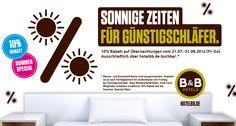 Sonnige Zeiten für Günstigschläfer. 10% #Rabatt auf Übernachtungen vom 21.07.-31.08.2014 (Fr.-So.). Ausschließlich über hotelbb.de buchbar.