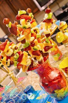 Fruit kabobs with Pineapple, grapes, kiwi, cantaloupe, and banana