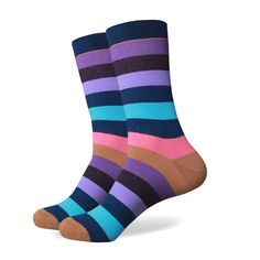 Men's Colorful Stripe Socks - Purple, Pink Turquoise Stripe - US size Patterned Socks, Striped Socks, Multi Coloured Socks, Blue Socks, Brown Socks, Colorful Socks, Navy Pink, Pink Turquoise, Purple Grey