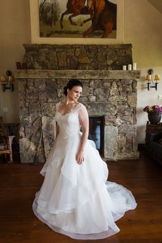Ball gown wedding dress idea - romantic wedding dress with lace bodice and tiered skirt {Cimbalik Photography}