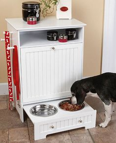 Pet Food Cabinet with Bowls. Makes storing dog food neater and easier!