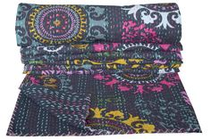 Black Suzani Indian Kantha Quilt Twin Size Bedspread Bedding Throw Reversible in Home & Garden, Bedding, Quilts, Bedspreads & Coverlets | eBay