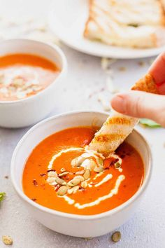 Red Wine Tomato Soup with Fontina Grilled Cheese Dippers - Quick and easy vegetarian dinner idea made from a soup and sandwich. Loads of vegetables, crusty bread, and gooey cheese. #soup #tomato #grilledcheese #soupandsandwich #sandwich #lunch #dinner #vegetarian