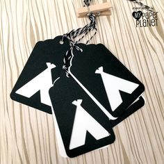 Teepee Tent Gift tags in Black and White. Baby shower or birthday party decorations by MyPaperPlanet