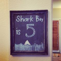 Birthday chalkboard art for a shark party or even shark week! Matthew 6, Chalkboard Ideas, Shark Party, Birthday Chalkboard, Shark Week, Frame, Picture Frame, Frames, Birthday Board