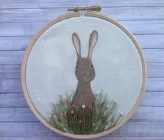 Hare hoop art.  Painted fabric and embroidery by BoxRoomBazaar