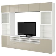 IKEA BESTÅ TV storage combination/glass doors White/valviken grey-turquoise clear glass cm The drawer and doors have integrated push-openers, . Tv Storage, Storage Spaces, Extra Storage, Living Furniture, Home Furniture, Furniture Design, Marco Ikea, Ikea Tv, Rack Design