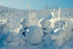 The Sapporo Snow Festival in Japan. All sculptures made from snow....amazing.